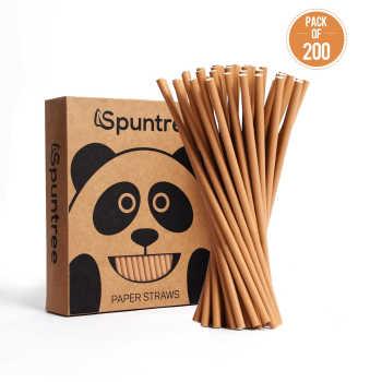 6mm Spuntree Biodegradable Eco Friendly No-dye Brown Natural Kraft Paper Straw
