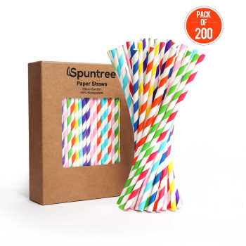 6mm Spuntree Custom Colorful Disposable Wholesale Drink Biodegradable stripes Paper Straw