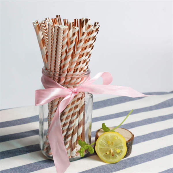 6mm hot stamping straw disposable environmental paper straw