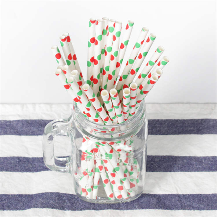 6mm Christmas green and red dot Paper Straw