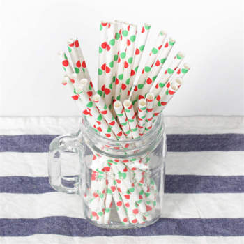 6mm 100% Food Grade Drinking Paper Straw For Bar Accessories Christmas green and red dot Paper Straw