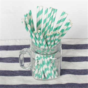 New product ideas 2019 biodegradable Light green stripes  paper straw by china manufacturer