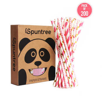 6mm  Suntree pink hot stamping straw disposable  drink milk tea environmental protection straw