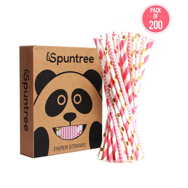 Suntree pink hot stamping paper drinking straws suck