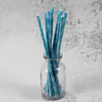 6mm Spuntree custom printed drinking Blue snowflake Paper Straw manufacturer for wedding party