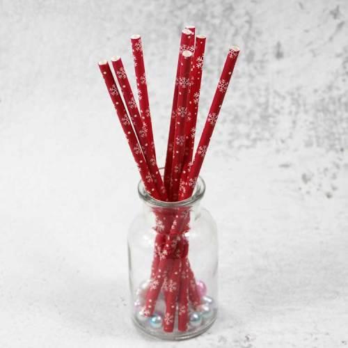 6 * 197mmの熱い販売の祝祭の多彩で使い捨て可能で便利なクリスマスの赤いスノーフレークのペーパーストロー