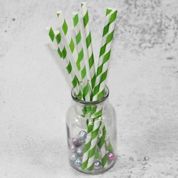 6mm*197mm Spuntree hot sale OEM Outside Green stripes biodegradable safePaper Straw