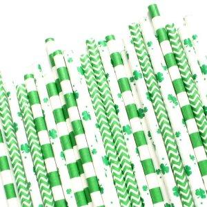 6mm FDAカスタマイズされた多色パック生分解性リサイクル可能緑四つ葉のクローバーペーパーストロー