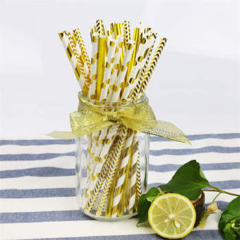 Hot stamping Striped  Paper Straws for Wedding Birthday Party