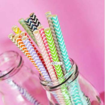 6mm Spuntree Hot sale biodegradable bar thick paper straw  Degradable chevron striped Paper Straw