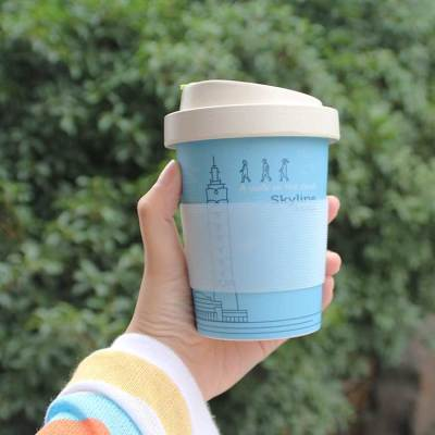 Biodegradable Reusable Creative Cup Wheat Bamboo Fiber Coffee Cups