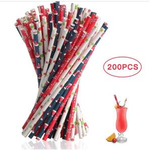 Christmas Decoration Paper drinking Straws For kids and shops