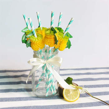 Pineapple Paper Straw Decorations Disposable Cocktail Drinking Straws Decorative for Party Holiday