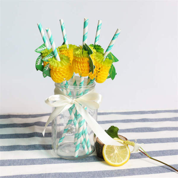 Pineapple Decorations Cocktail Drinking Straws for Party Holiday