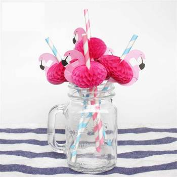 Flamingo pipette honeycomb decoration party ins disposable color creative green paper drink straw