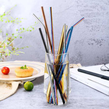 8mm corlorful High-quality Eco-Friendly Reusable Bending Drinking 304 Stainless Steel Straws