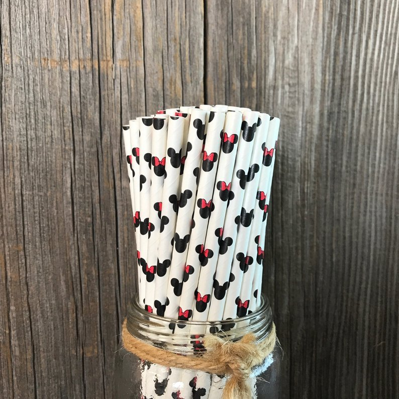 Disney character cartoon paper straw