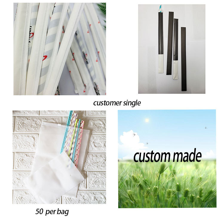 The package of Wholesales Bendy Factory Price Bendable Drinking Paper Eco Friendly Decomposed Flexible Straws