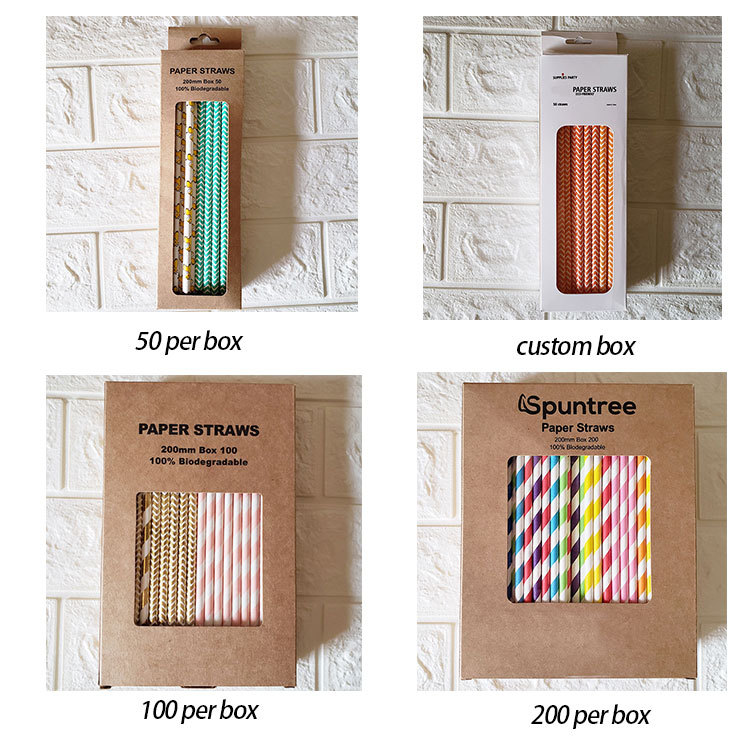 The package of Spuntree hot party favors wholesale cocktail eco friendly striped recycled drinking paper straws