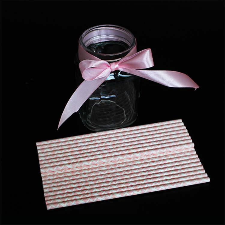 Eco friendly biodegradable logo printed striped paper straw