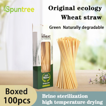 100per Box Pure natural health and environmental protection degradable ultra-fine long wheat straw