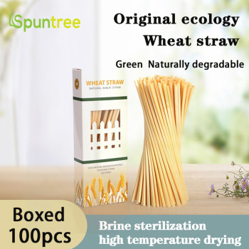 100per Box 4mm Factory price organic natural wheat drinking straws eco friendly rye straws for sale