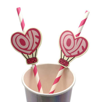Cute Paper Straws With pink heart Shape Accessories For Wedding Birthday Party Straws Wholesales