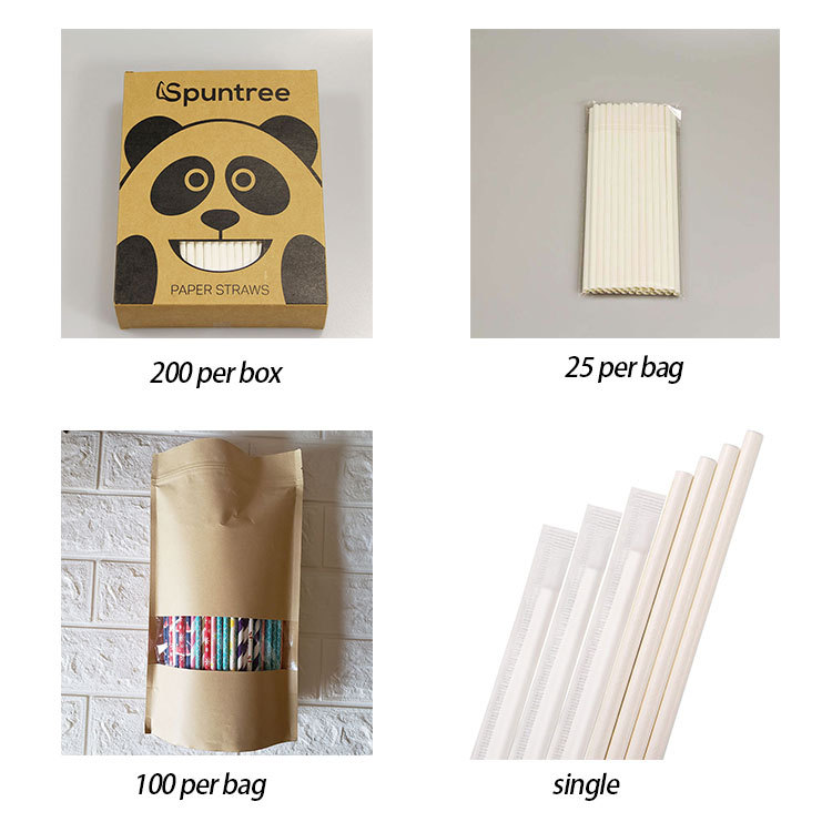 The package of 10mm Biodegradable Wood Pulp Bamboo Drinking Paper Straws for Bar