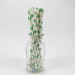 FDA Biodegradable Recyclable Green  Four-leaf clover Paper Straws