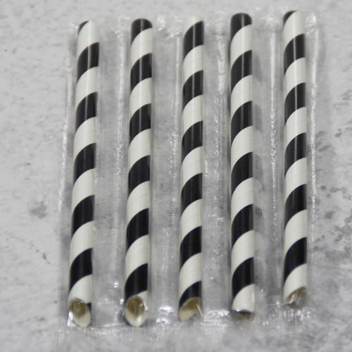 工場黒ストライプ紙ストロー創造的な色紙ストロー使い捨て分解可能なストロー