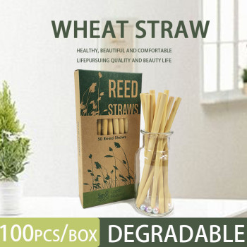 Kraft box Reed stem natural plant milk tea cold drink coffee large diameter disposable reed straws