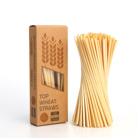 100pcs 4mm natural health  safe long  organic wheat drinking straws