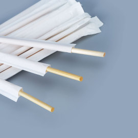 Recycled individually wrapped biodegradable wheat drinking straws