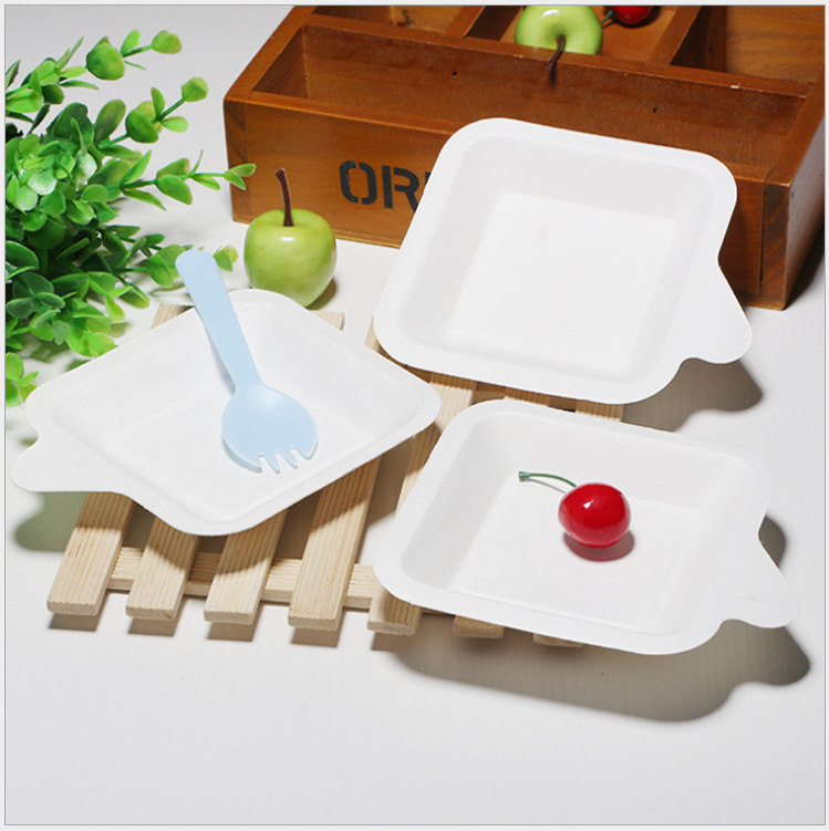 square Sugar cane pulp biodegradable plate