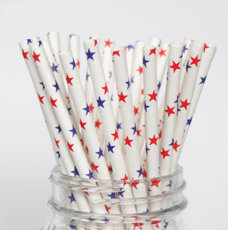 6mm Rubbing two-color five-pointed star Paper Straw