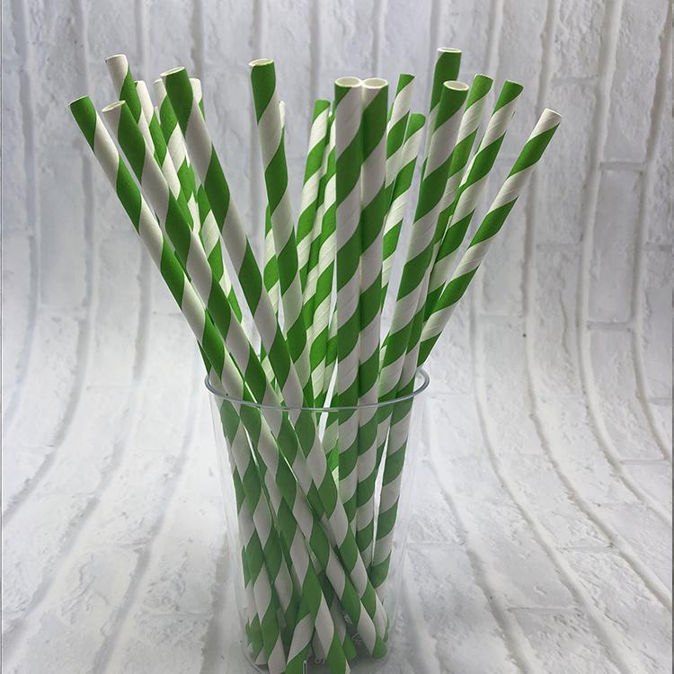 6mm Green stripes Paper Straw