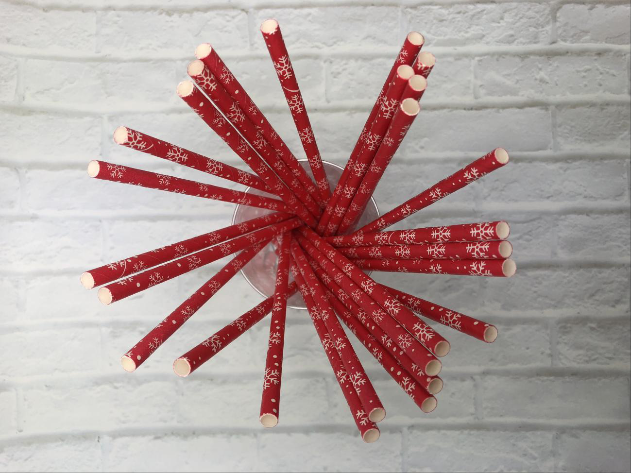 6mm Christmas red snowflake Paper Straw