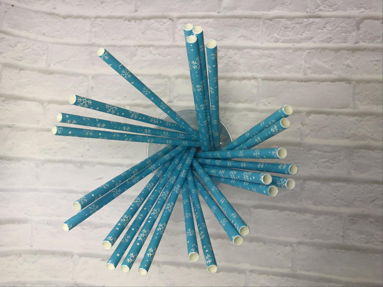 6mm Blue snowflake Paper Straw
