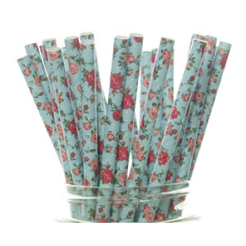 6mm Spuntree degradable environmental party art handmade blue with red flowers paper straw