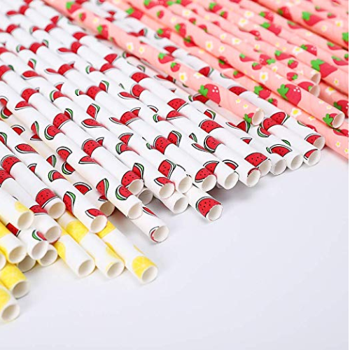Paper Straw with pattern