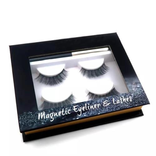 Las pestañas baratas del delineador de ojos negros de la mirada natural magnéticas con las pestañas postizas magnéticas 3D