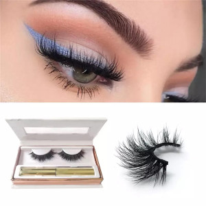 Pestañas 3D Mink False Mink Eyeliner para pestañas hermosas