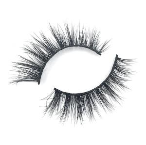 Pestañas de tira de visón de brillo prefabricado real al por mayor para maquillaje de ojos