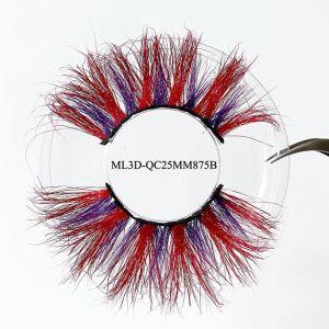 Wholesale Star Colored Colorful Volume 3D 25mm False Mink Lashes Perming Strip Vendor Color Eyelashes