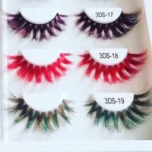 hot sale 1 pair handmade fake eye lashes natural false 25mm  3D mink eyelashes and eyelashes colorful cube