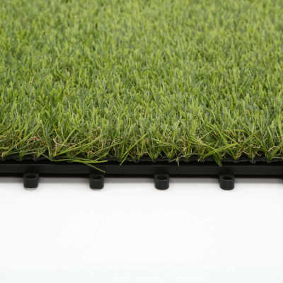 Interlocking synthetic turf tiles