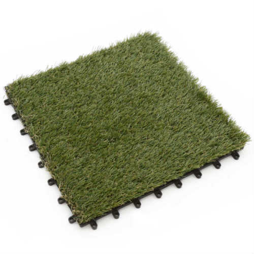 Interlocking synthetic turf tiles