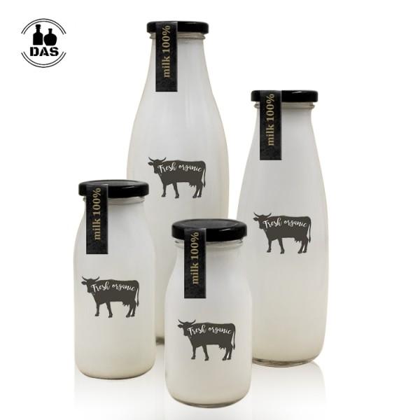 Botella de vidrio de leche