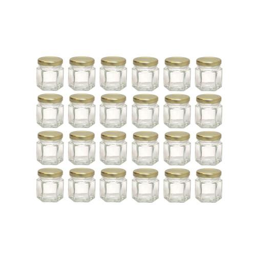 Hexagon Mini Glass Honey Jar