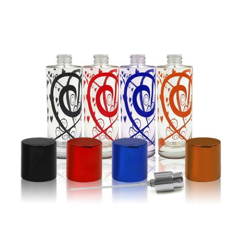 Perfume botella de spray de vidrio con tapa de electrochapa